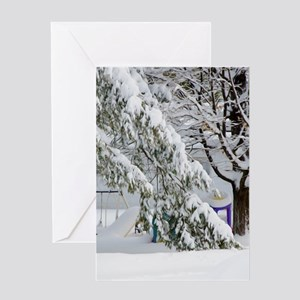 Pine branch tree under snow Greeting Cards