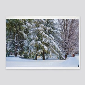 Trees with snow in winter park 5'x7'Area Rug