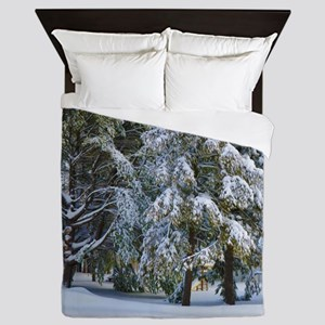 Trees with snow in winter park Queen Duvet