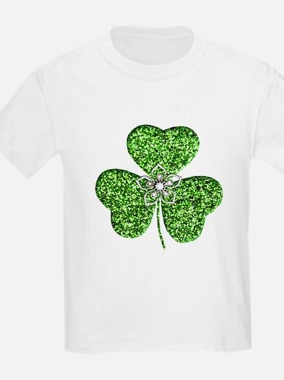 Glitter Shamrock With A Flower T-Shirt