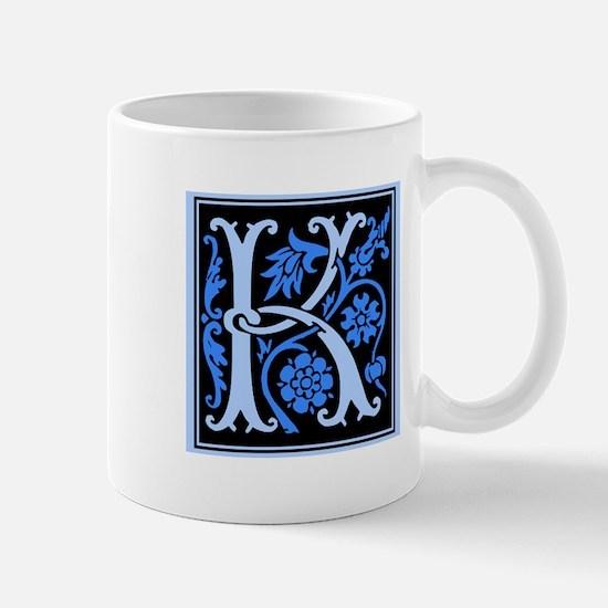 Blue Fleur2 Monogram K Mug