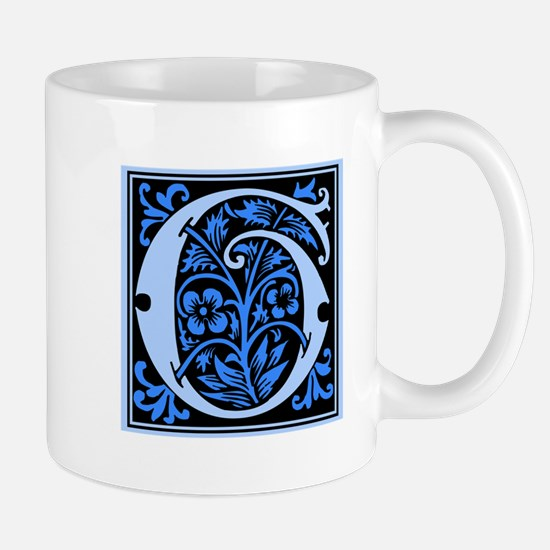 Blue Fleur2 Monogram G Mug
