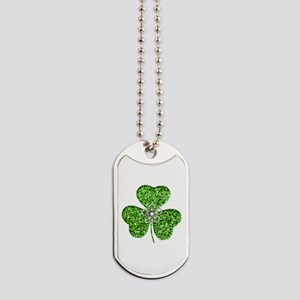 Glitter Shamrock With A Flower Dog Tags