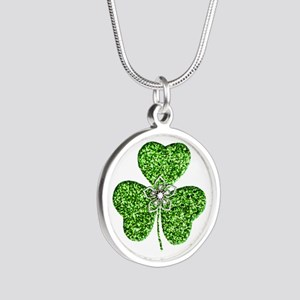 Glitter Shamrock With A Flower Necklaces