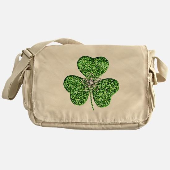 Glitter Shamrock With A Flower Messenger Bag
