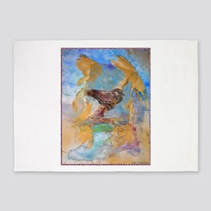 Sparrow, bird art, 5'x7'Area Rug