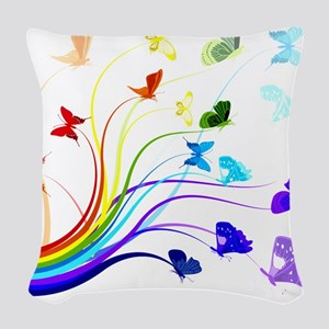 Butterflies Woven Throw Pillow
