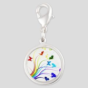 Butterflies Silver Round Charm