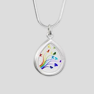 Butterflies Silver Teardrop Necklace