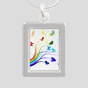 Butterflies Silver Portrait Necklace