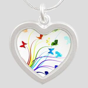 Butterflies Silver Heart Necklace