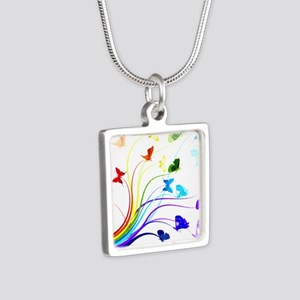 Butterflies Silver Square Necklace