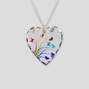 Butterflies Necklace Heart Charm