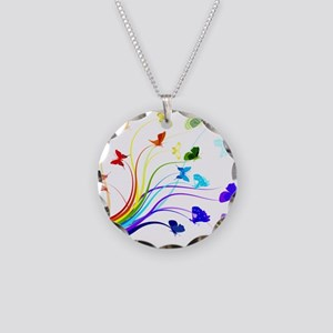 Butterflies Necklace Circle Charm