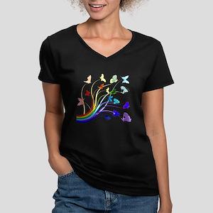 Butterflies Women's V-Neck Dark T-Shirt