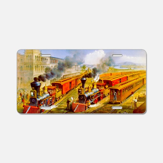 Railroad Train Scene Aluminum License Plate