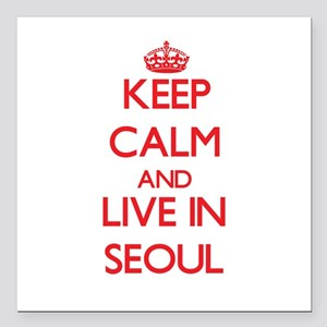 """Keep Calm and Live in Seoul Square Car Magnet 3"""" x"""