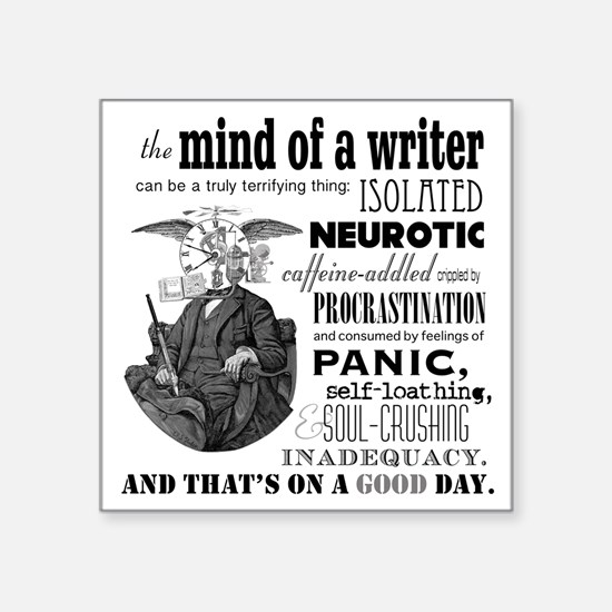 "The Mind Of A Writer Square Sticker 3"" X 3"""