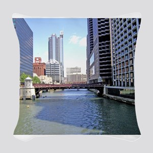 Downtown Chicago Waterscape Woven Throw Pillow