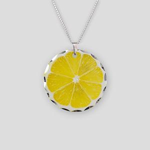 Yellow Lemon Slice Necklace Circle Charm
