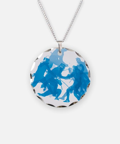 Blue invert enggagments tilt Necklace