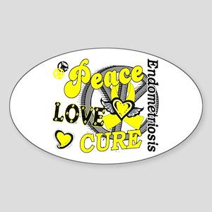 Peace Love Cure 2 Endometriosis Sticker (Oval)