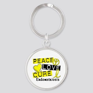 Peace Love Cure 1 Endometriosis Round Keychain