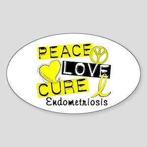 Peace Love Cure 1 Endometriosis Sticker (Oval)