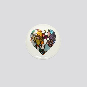 Stained Glass Heart Mini Button