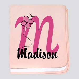 Personalized Monogram Letter M baby blanket