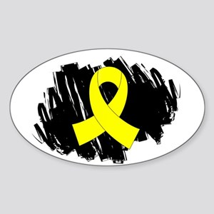 Scribble Ribbon Endometriosis Sticker (Oval)