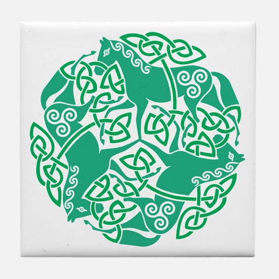 Celtic Irish Horses St Patrick's Day Tile Coaster
