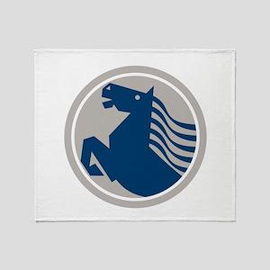 Prancing Horse Side Circle Throw Blanket