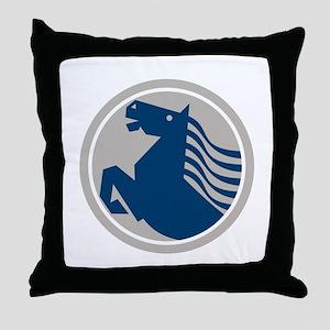 Prancing Horse Side Circle Throw Pillow