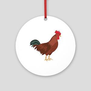 Red Chicken Ornament (Round)
