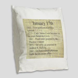 January 17th Burlap Throw Pillow