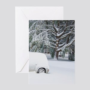 Snow covered trees and cars Greeting Cards
