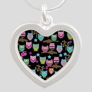 happy owls Silver Heart Necklace