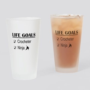 Crocheter Ninja Life Goals Drinking Glass