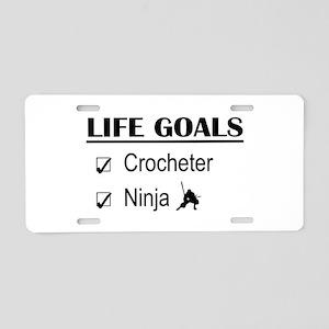 Crocheter Ninja Life Goals Aluminum License Plate