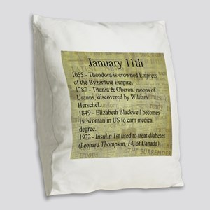 January 11th Burlap Throw Pillow