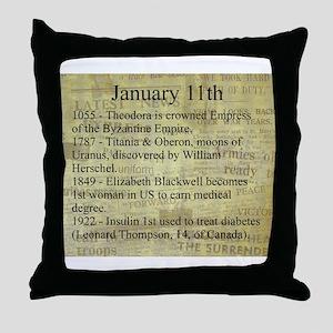 January 11th Throw Pillow