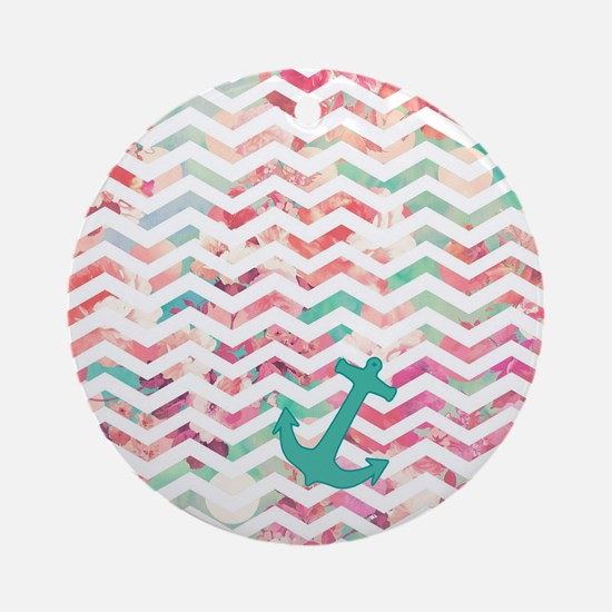 Turquoise Anchor Chevron Pink Chic  Round Ornament