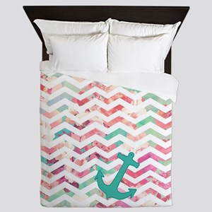 Turquoise Anchor Chevron Pink Chic Flo Queen Duvet