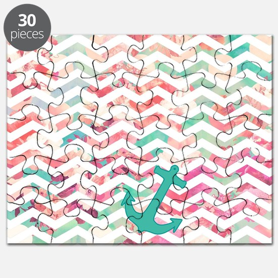 Turquoise Anchor Chevron Pink Chic Floral P Puzzle