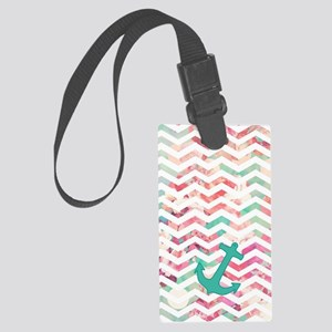 Turquoise Anchor Chevron Pink Ch Large Luggage Tag