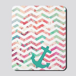 Turquoise Anchor Chevron Pink Chic Flora Mousepad