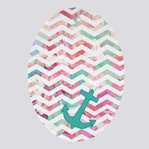 Turquoise Anchor Chevron Pink Chic F Oval Ornament