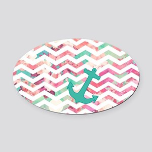 Turquoise Anchor Chevron Pink Chic Oval Car Magnet