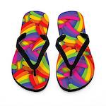 Rainbow Fan Pattern Flip Flops